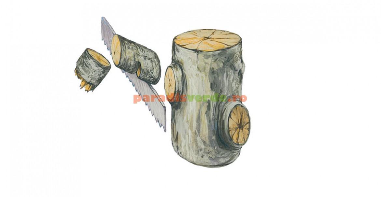 Ramurile mari vor fi tăiate în segmente, pentru a preîntâmpina așchierile scoarței